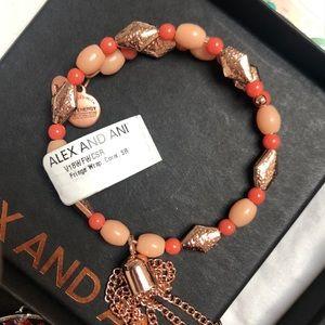 ALEX + ANI Rose Gold, Coral Wrap Bangle Bracelet